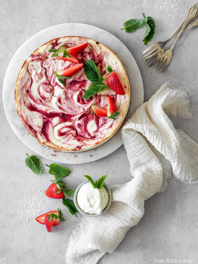 Rezept Käsekuchen mit Erdbeeren