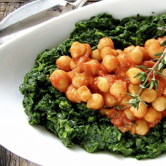 Rezept Kichererbsen mit Spinat
