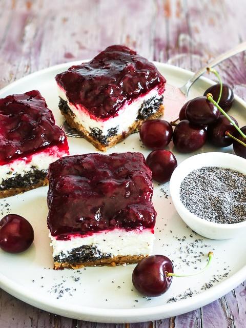 Rezept Kirsch-Mohn-Quark Kuchen vom Blech