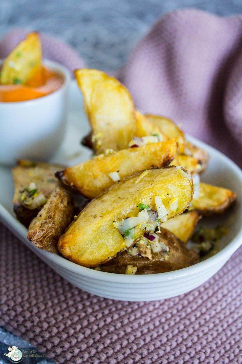 Rezept knusprige Kartoffelspalten