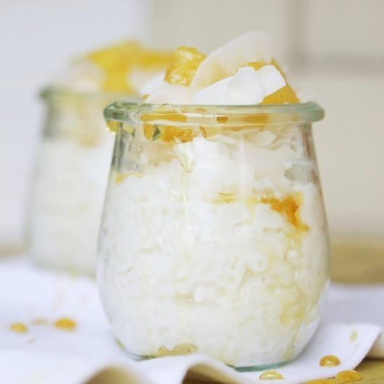 Rezept Kokos Milchreis mit karamellisierten Ananas