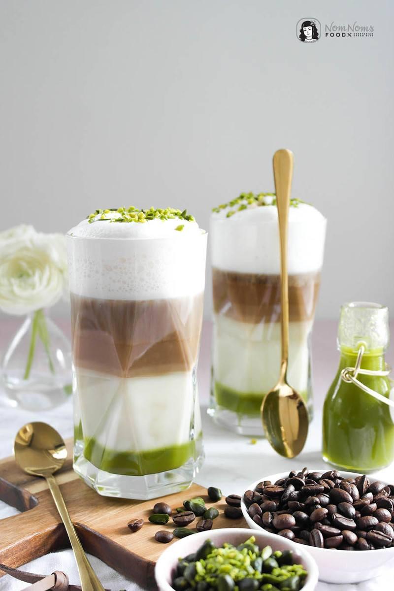 Rezept Kokos Pistazien Latte Macchiato mit selbst gemachtem Pistazien-Sirup