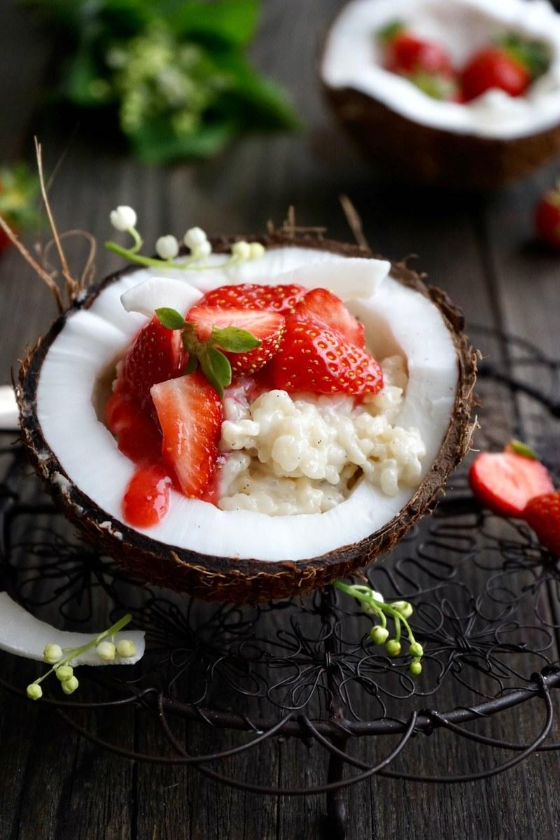 Rezept Kokosmilch Reis mit frischen Erdbeeren