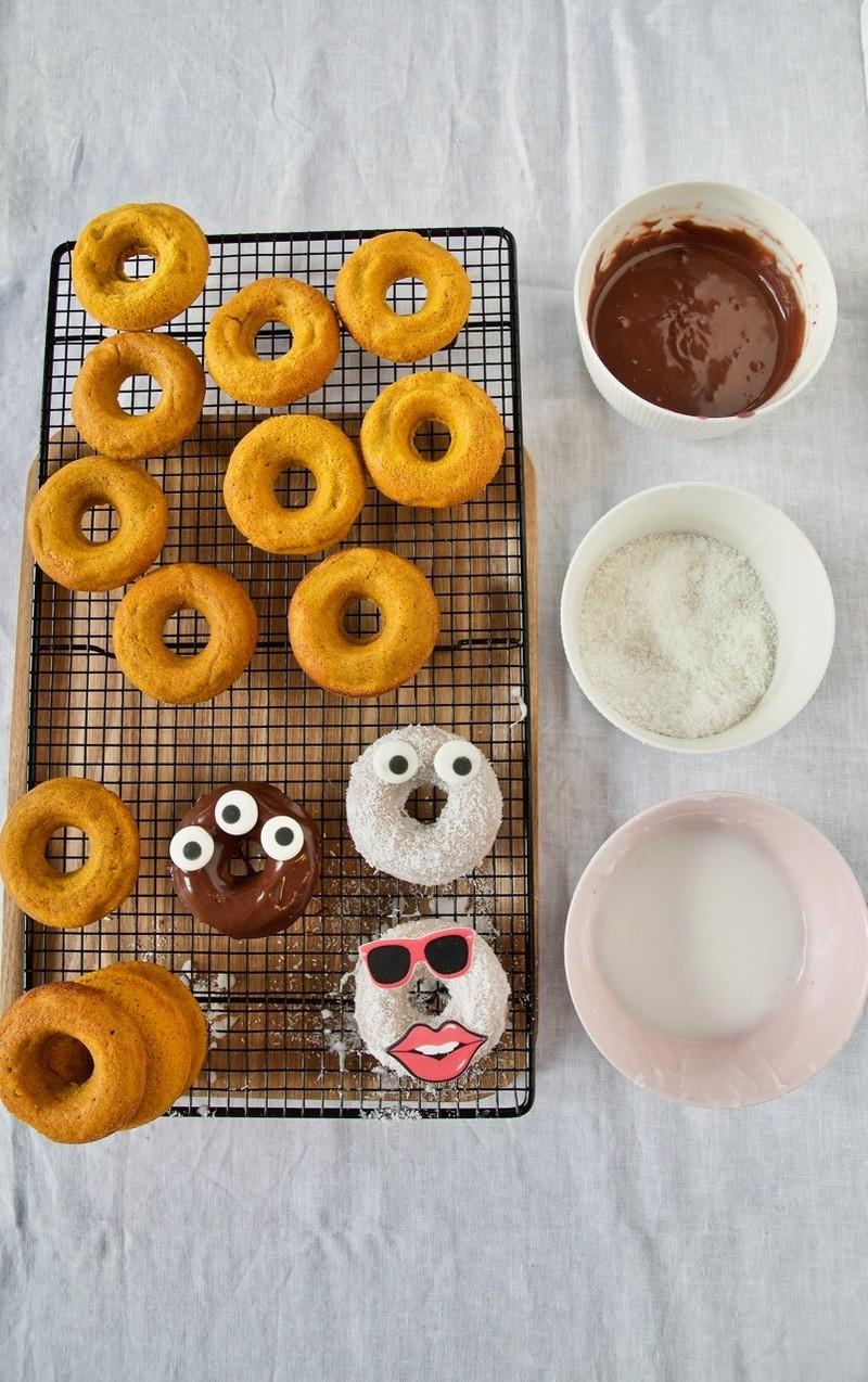 Rezept Kürbis-Donut Geister und Monster für Halloween