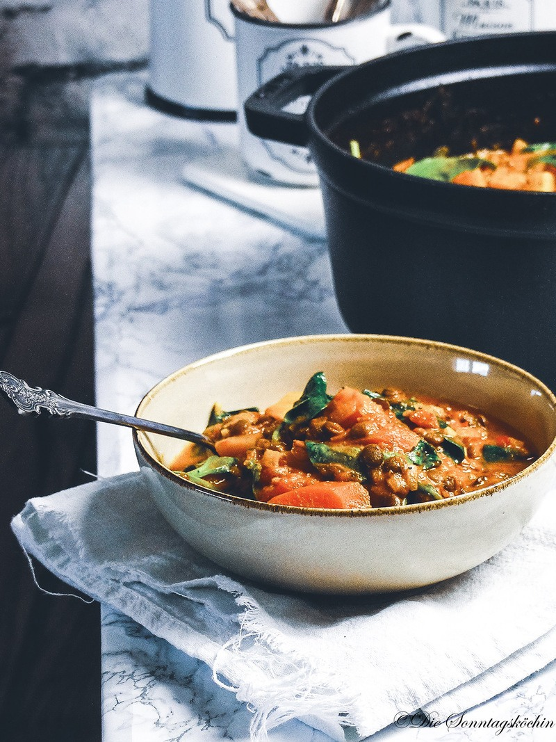 Rezept Kürbis Linsen Curryeintopf, vegan