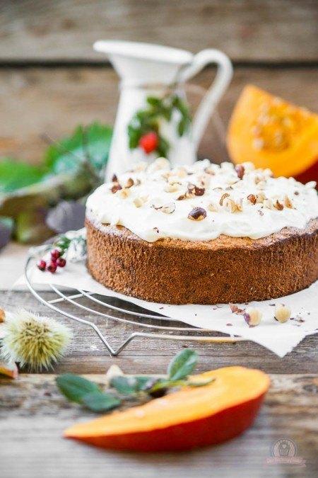 Rezept Kürbis-Nuss Kuchen mit Topping