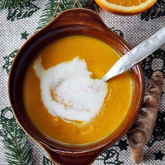 Rezept Kürbis Orangen Suppe mit Ingwer