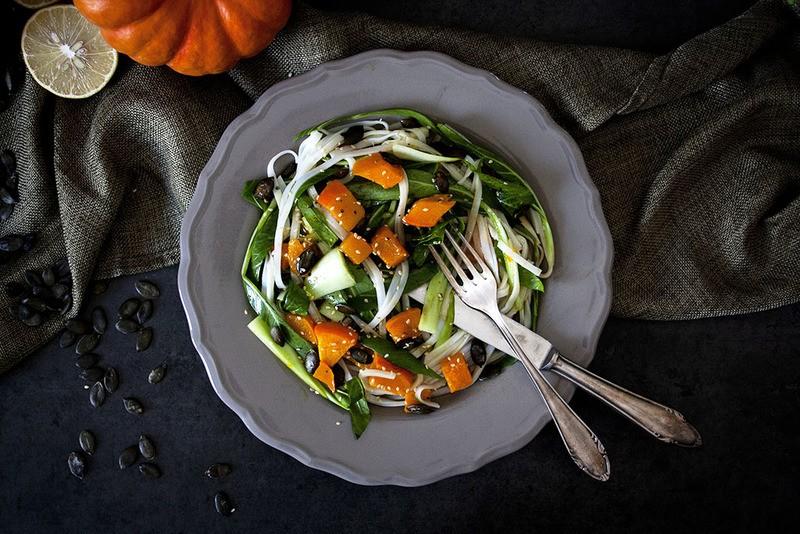 Rezept Kürbis-Reisnudel-Salat mit Sojadressing