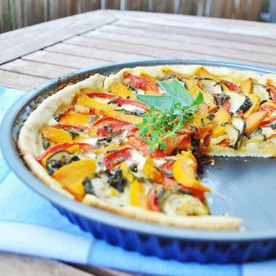 Rezept Kürbis-Tomaten-Zucchini Tarte