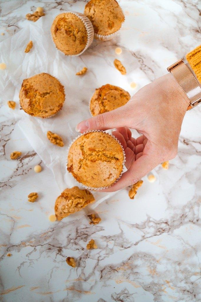 Rezept Kürbis-Weiße-Schokolade-Muffins mit Walnüssen und Tonka