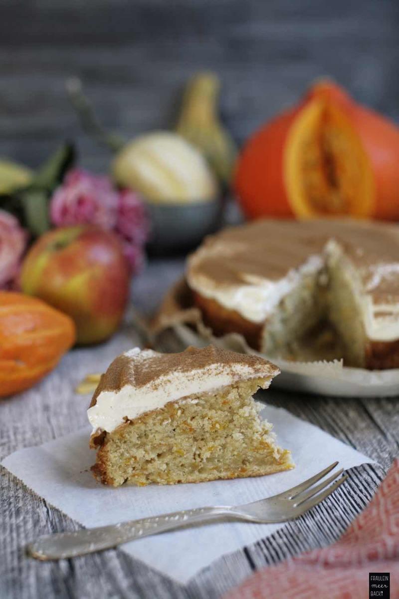 Rezept Kürbis-Zimt-Kuchen mit Frischkäsecreme
