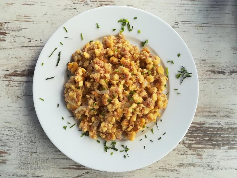 Rezept Kürbisspätzle mit Zwiebeln und Haschee