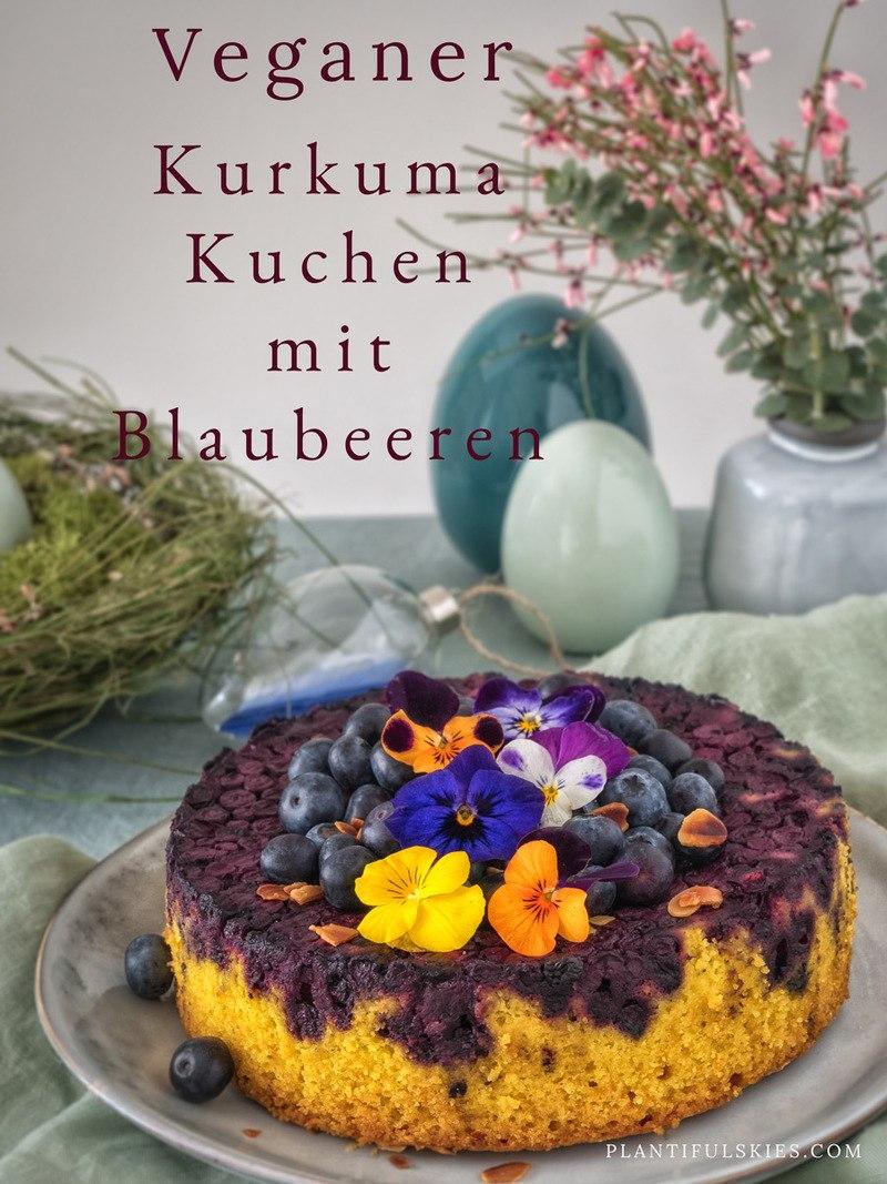 Rezept Kurkuma Kuchen mit Blaubeeren und knusprigem Mandelboden - vegan