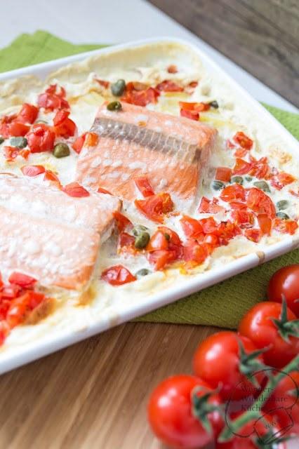 Rezept Lachs auf Kartoffelgratin