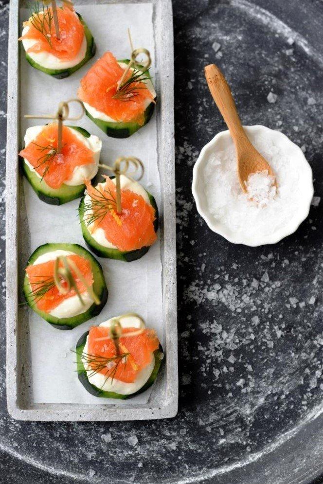 Rezept Lachs-Gurken-Häppchen, schickes Fingerfood oder leichte Vorspeise zum Fest