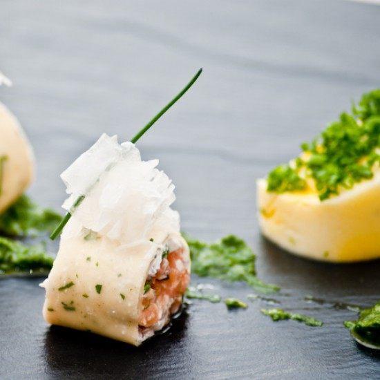 Rezept Lachs im Crêpe mit Safran- Blumenkohlmousse