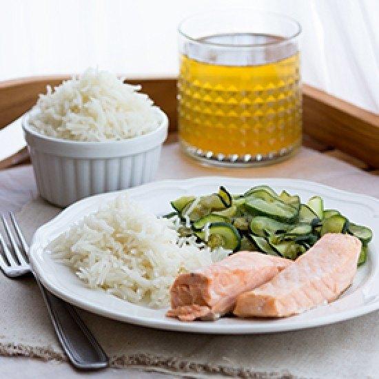 Rezept Lachs mit Zucchini und Reis