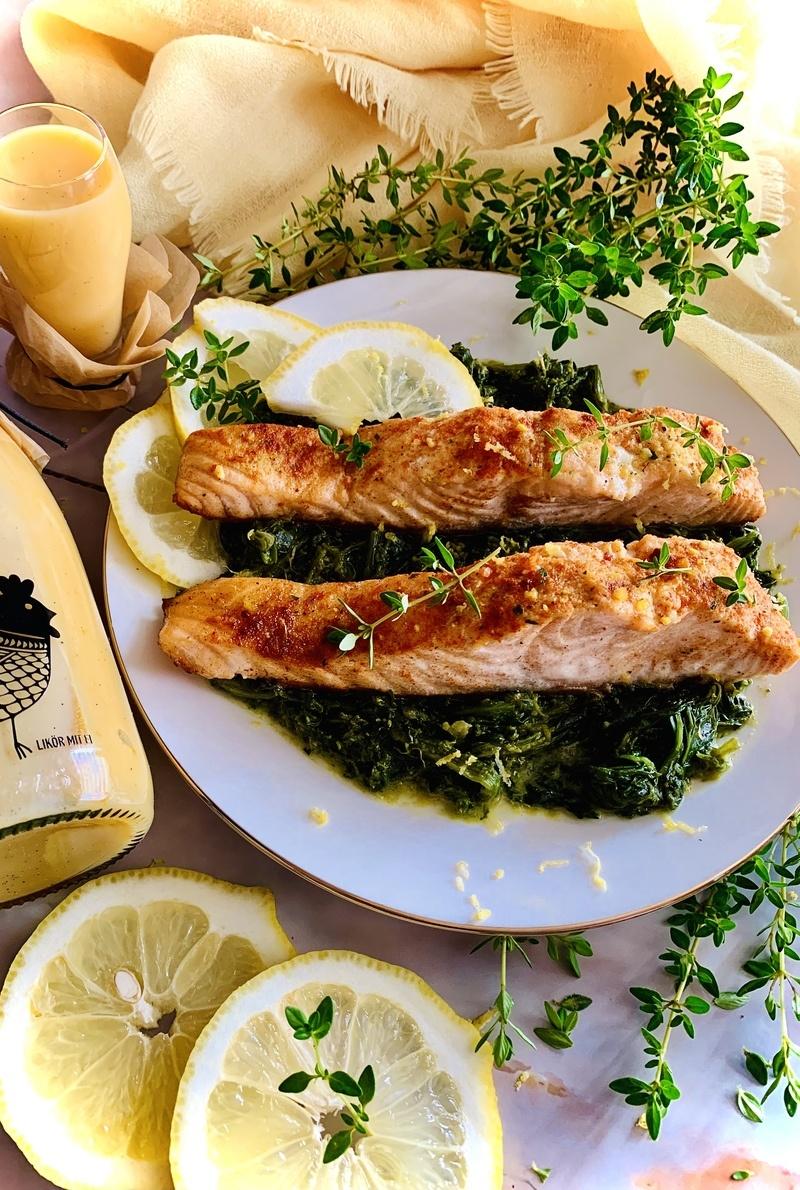 Rezept Lachs auf Spinat mit Eierlikör