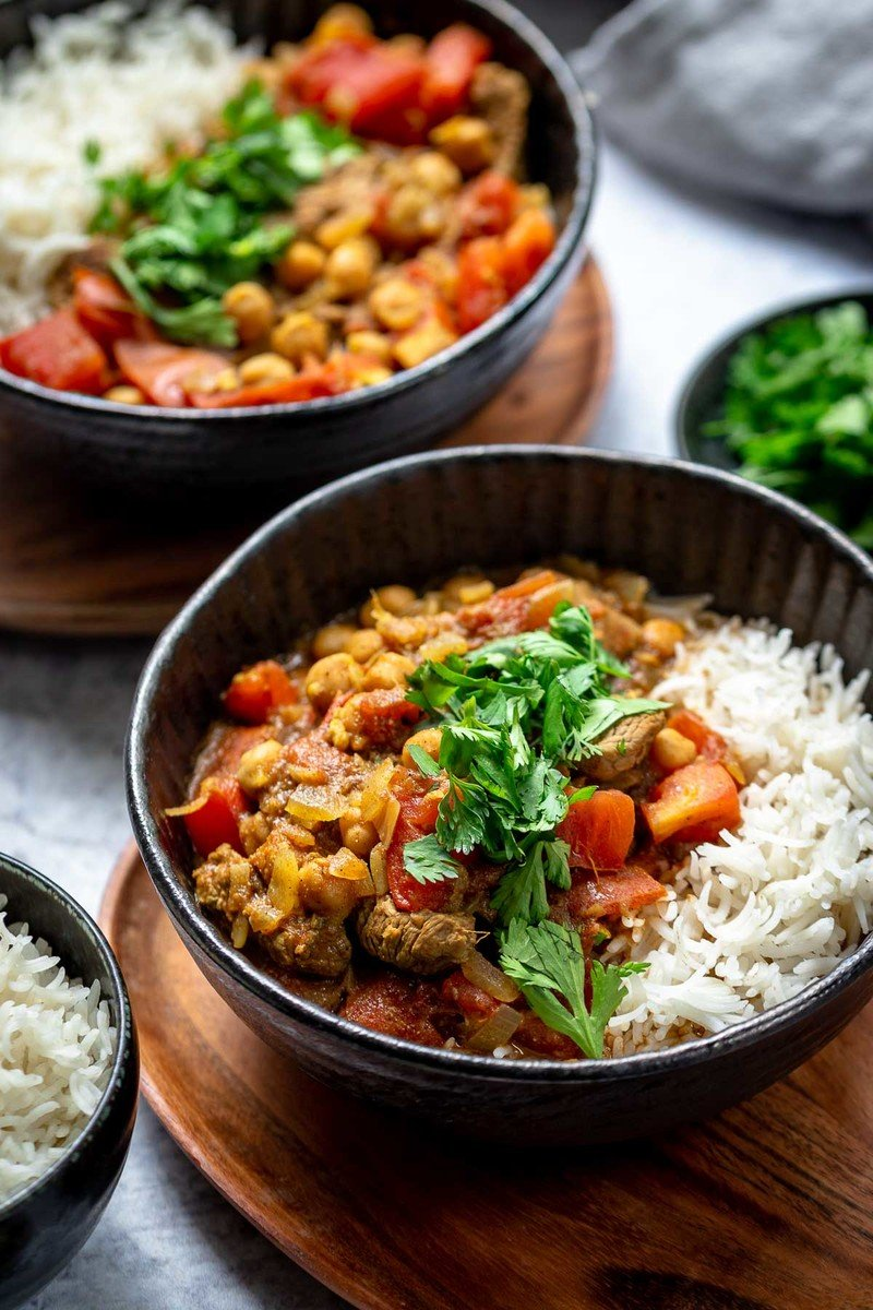Rezept Lamm Curry mit Kichererbsen und Tomaten