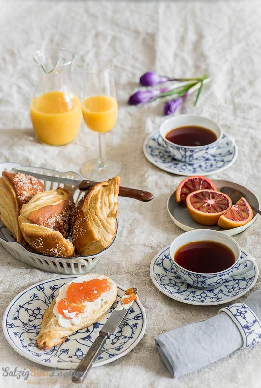 Rezept Laugenecken mit Blutorangen-Vanille-Marmelade