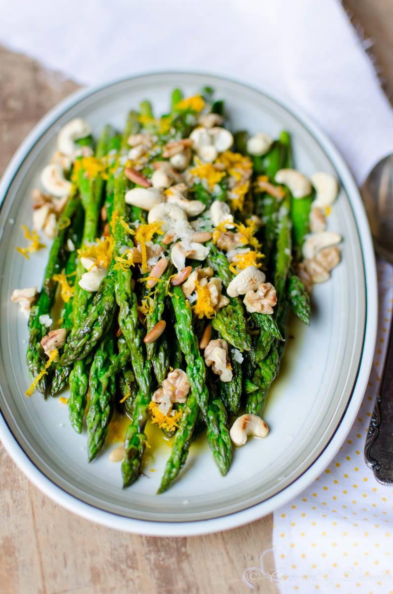 Rezept lauwarmer Spargelsalat mit Nüssen und Orange