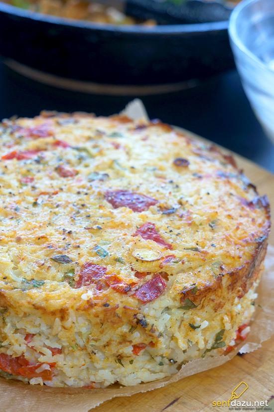 Rezept Leckerer Reiskuchen mit Tomaten und Paprika