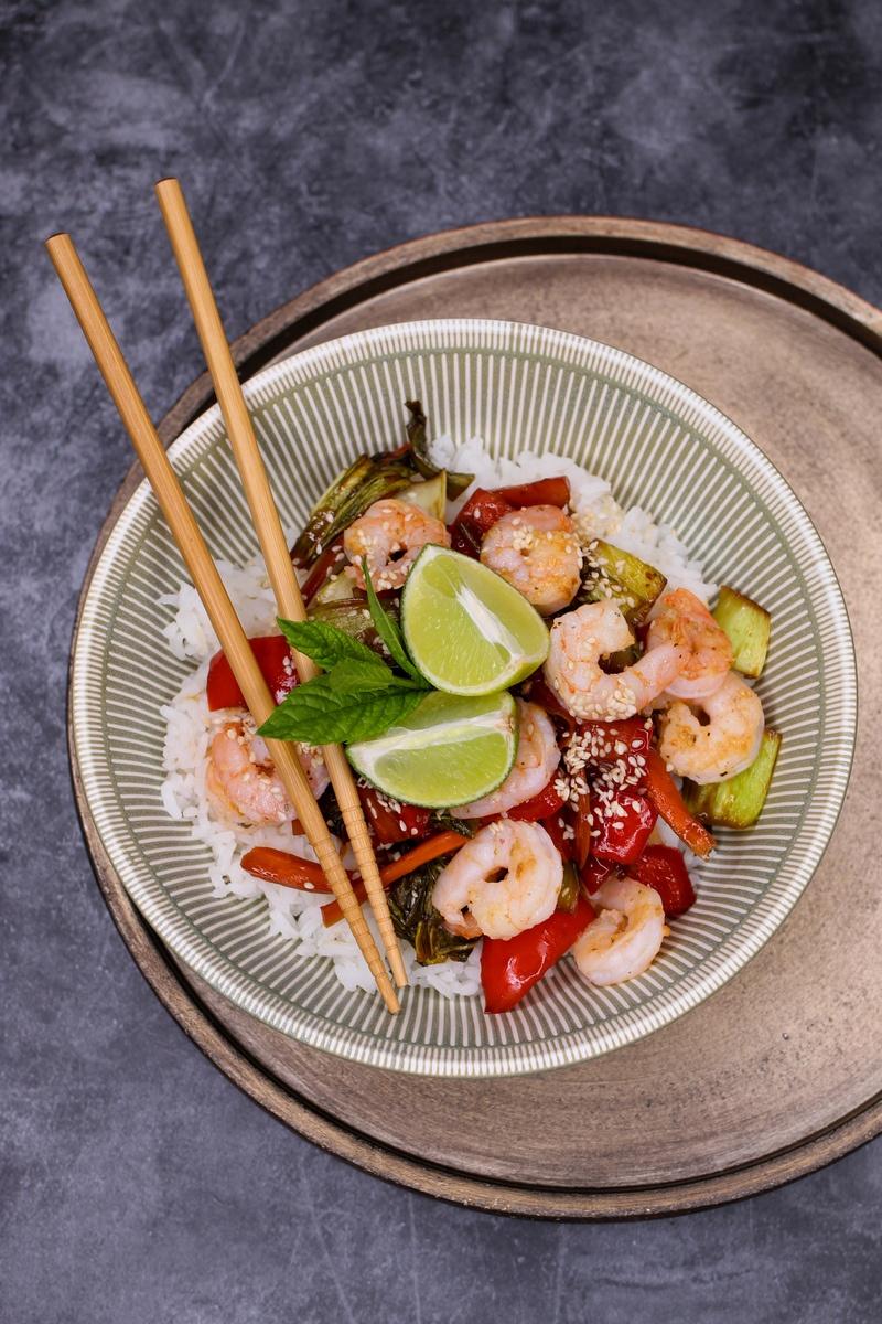 Rezept Limetten-Reis mit Garnelen und Teriyaki Gemüse