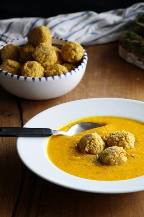 Rezept Linsen - Hirse - Bällchen mit afrikanisch inspirierter Kürbissuppe