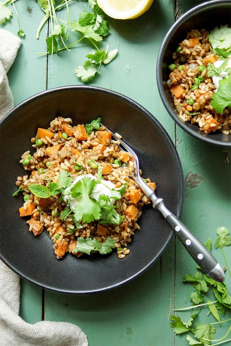 Rezept Linsen-Reis-Pilaw mit Süßkartoffel