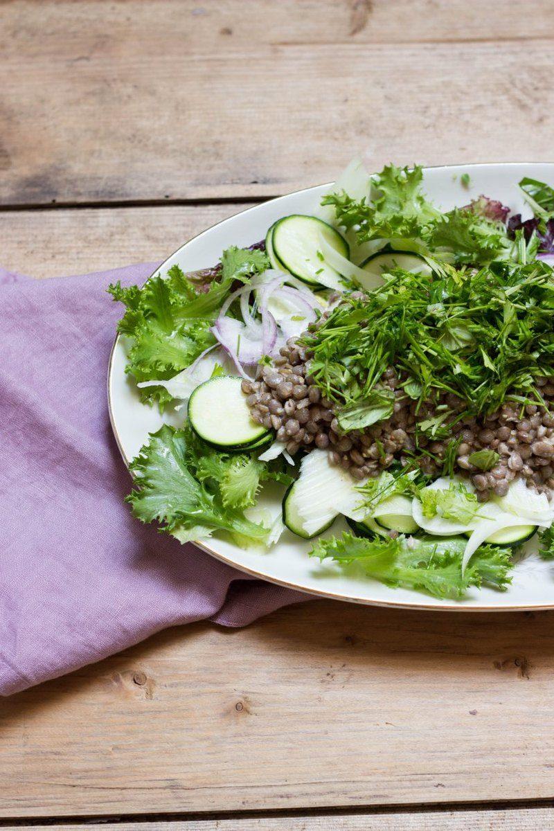 Rezept Linsensalat mit Fenchel- und Zucchini-Rohkost