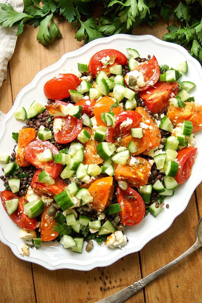 Rezept Linsensalat mit geröstetem Feta und Tomaten