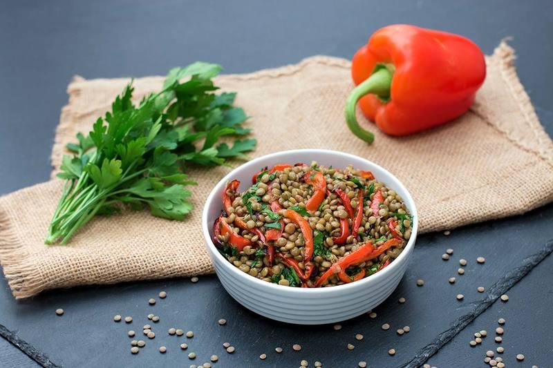 Rezept Linsensalat mit gerösteten Paprikastreifen (Eiweißreich)