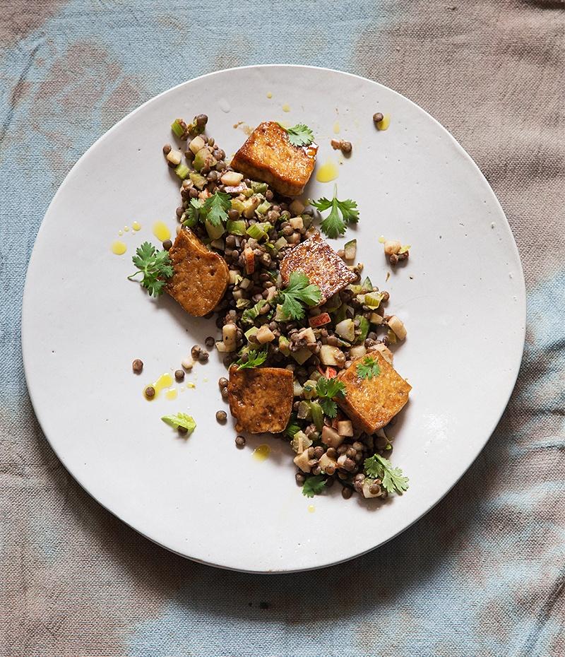 Rezept Linsensalat mit karamellisiertem Tofu