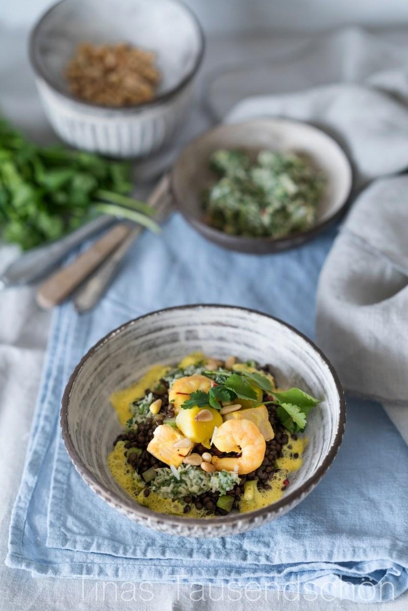 Rezept Linsensalat mit Meeresfrüchte, Orangenschaum und Koriander Salsa