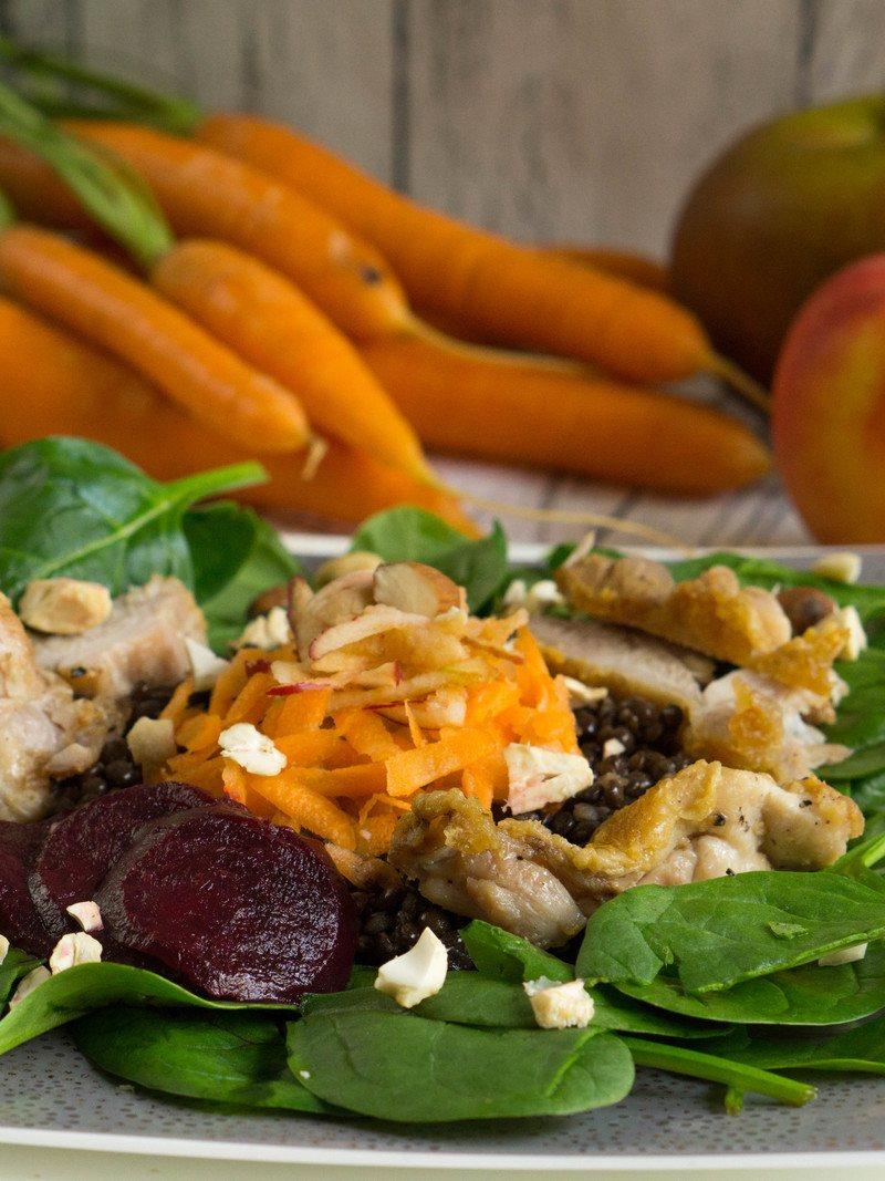 Rezept Linsensalat mit Roter Beete, Äpfeln & Möhren