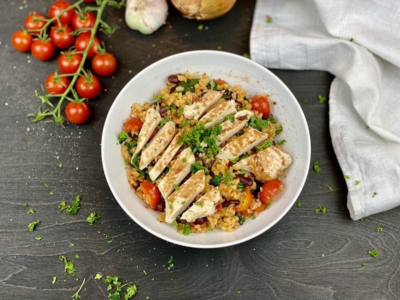 Rezept Low Carb Chicken and Rice Bowl