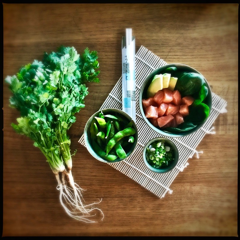 Rezept Low Carb Lachs Sashimi Bowl mit Avocado, pochiertem Ei und Spicy Mayo