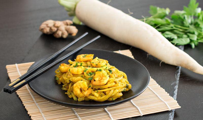 Rezept Low-Carb: One-Pot-Pasta mit Garnelen und Rettich