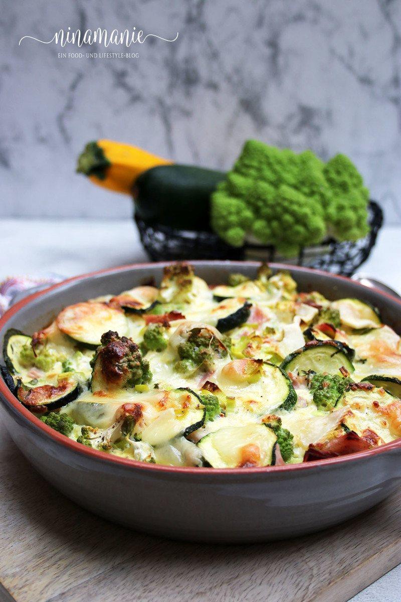 Rezept Low carb Zucchini-Romanesco-Gratin