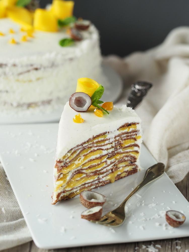 Rezept Mango-Crêpe-Torte mit Maracuja und Schokolade