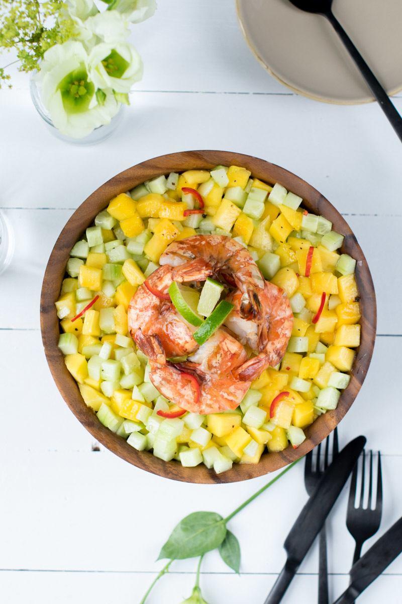 Rezept Mango-Gurken-Salat mit Garnelen