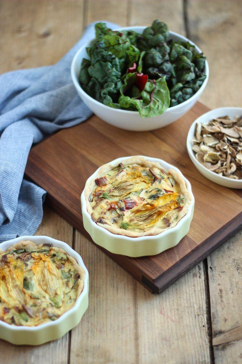 Rezept Mangold-Ricotta-Quiche mit Steinpilzen und Kürbisblüten