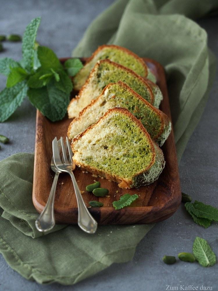 Rezept Marmorkuchen mit Pistazie, Minze und Matcha