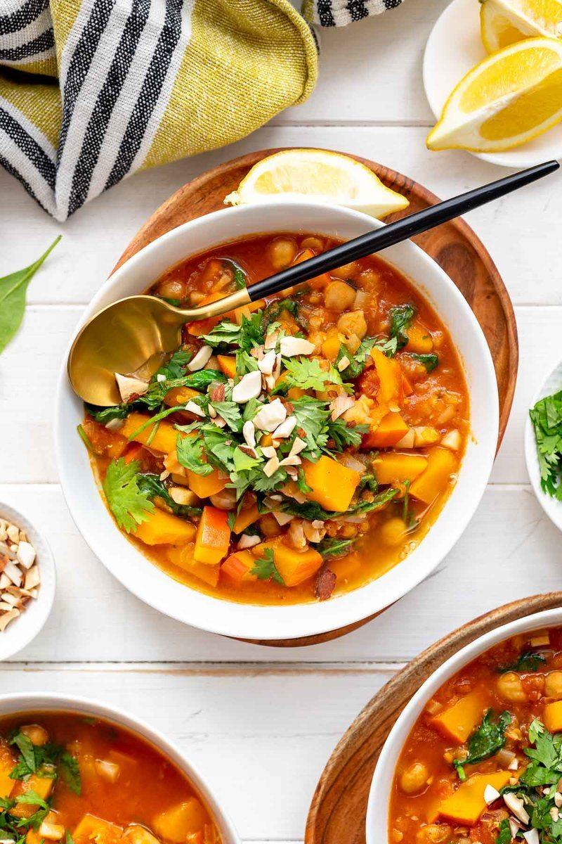 Rezept Marokkanischer Kichererbsen Eintopf mit Linsen und Kürbis