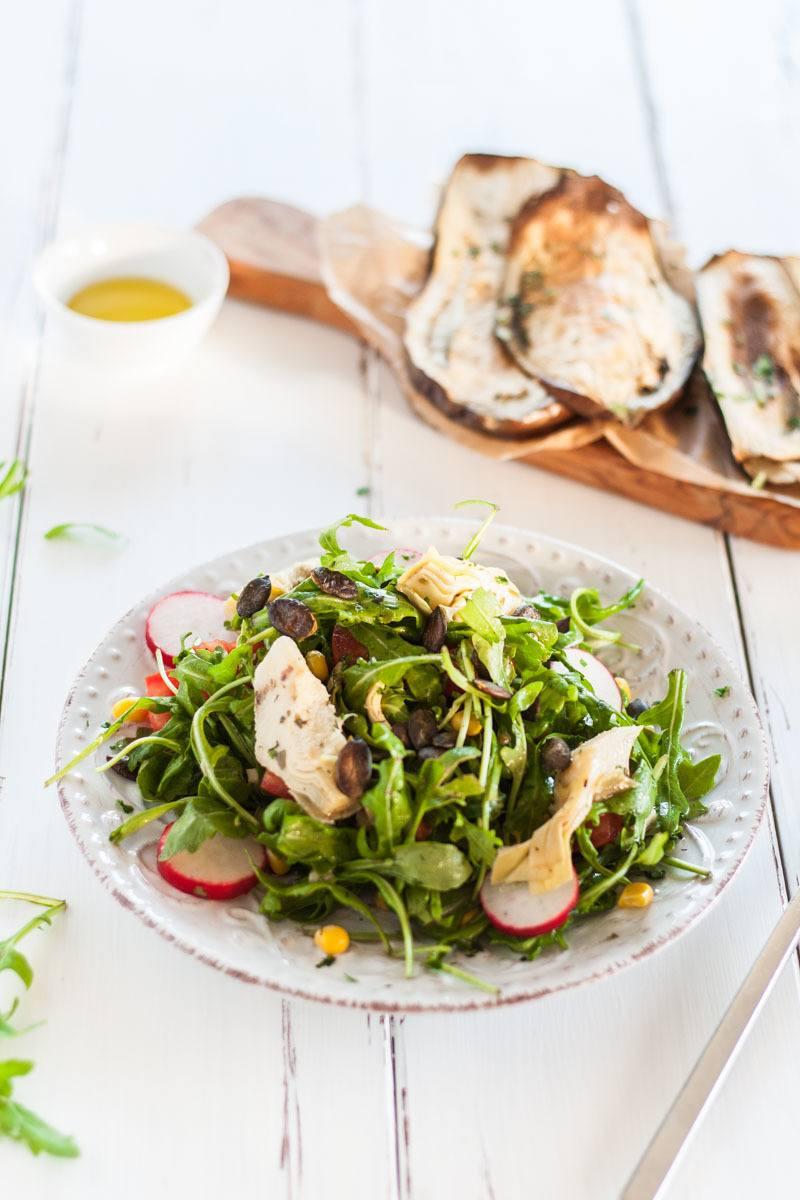 Rezept Mediterraner Rucola Salat mit Auberginen