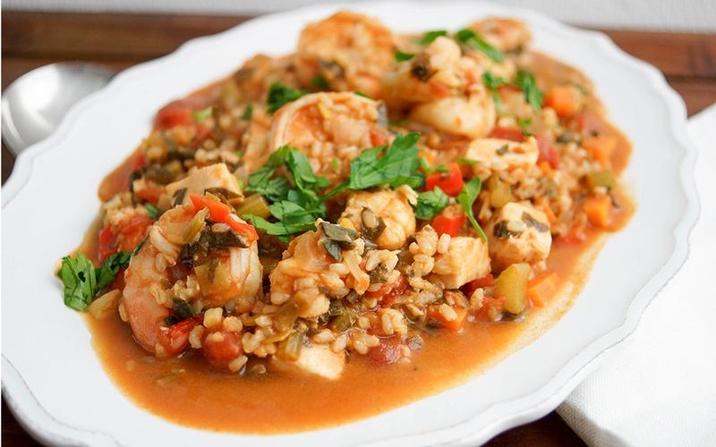 Rezept Meeresfrüchte Jambalaya mit Riesengarnelen, Schwertfisch und Seeteufel
