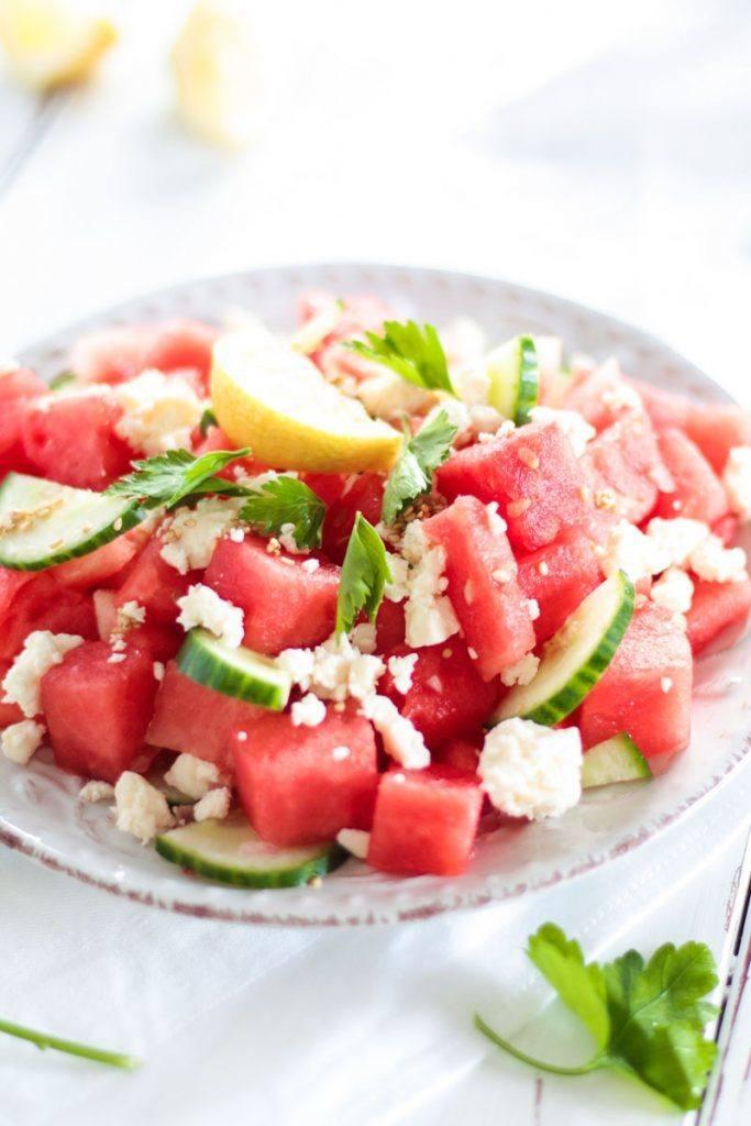 Rezept Melonen Feta Salat mit Sesam