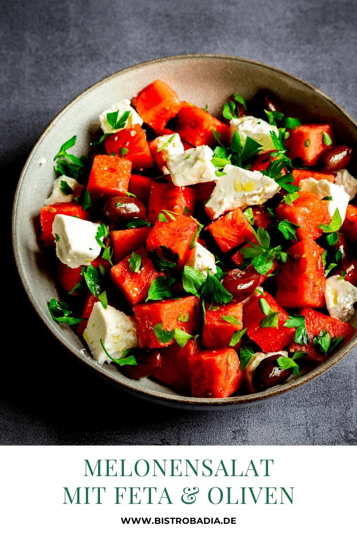 Rezept Melonensalat mit Feta und Oliven
