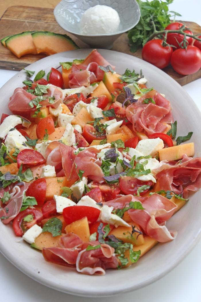 Rezept Melonensalat mit Schinken und Tomaten