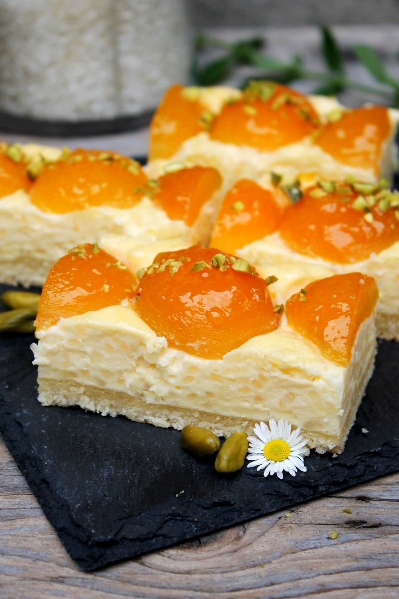 Rezept Milchreiskuchen mit Aprikosen